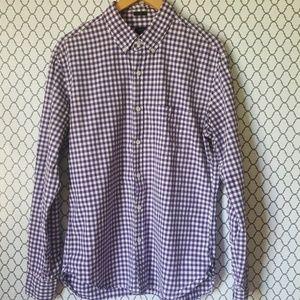 J. Crew Slim Fit Purple/White Gingham Dress Shirt